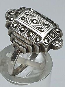 Art-Deco-Silber-Ring-20er-30er-Jahre-935-Silber-punziert-RG-55-17-5mm-A257