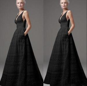 S-5XL-Womens-Ball-Gown-Swing-Deep-V-Neck-Dress-Maxi-Full-Length-Sleeveless