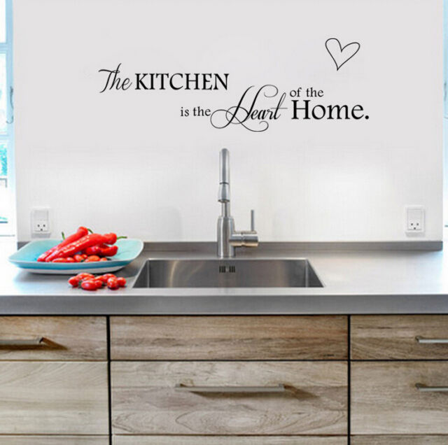 Black Kitchen+Home Quote Art Wall Sticker Mural Decals Removable PVC Quote Art