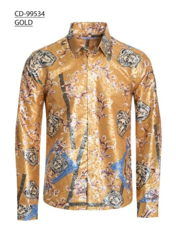 Mens Caviar Dremes Long Sleeve Button Down Fitted Dress Shirt Shiny Gold Medusa