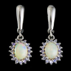 100-NATURAL-8X6MM-OPAL-ETHIOPIAN-WELO-amp-TANZANITE-STERLING-SILVER-925-EARRING