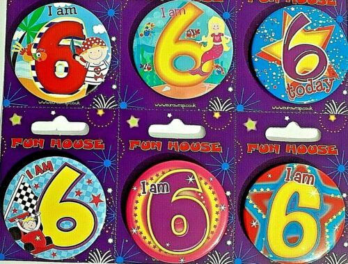 Age 6 Birthday Party Badges I am 6 today Birthday Badge gift present boys/&girls