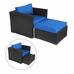 Amazing Details About Patio Wicker Rattan Sofa Ottoman Lounge Chair Set Poolside Yard Royal Blue Ibusinesslaw Wood Chair Design Ideas Ibusinesslaworg