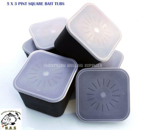 5 x fishing standard square JUMBO bait boxes 3 Pint