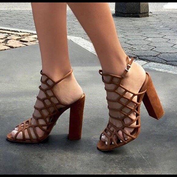 250 Authentic Rare SCHUTZ Women's Women's Women's Cut Out Jaden Caged Suede Block Heel Sandals 9e86d3