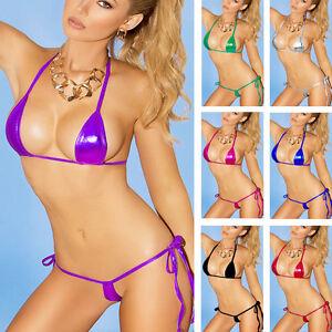 87685172dc34 Women Sexy Lingerie Metallic Shiny Bra +Micro Thong G-string Bikini ...