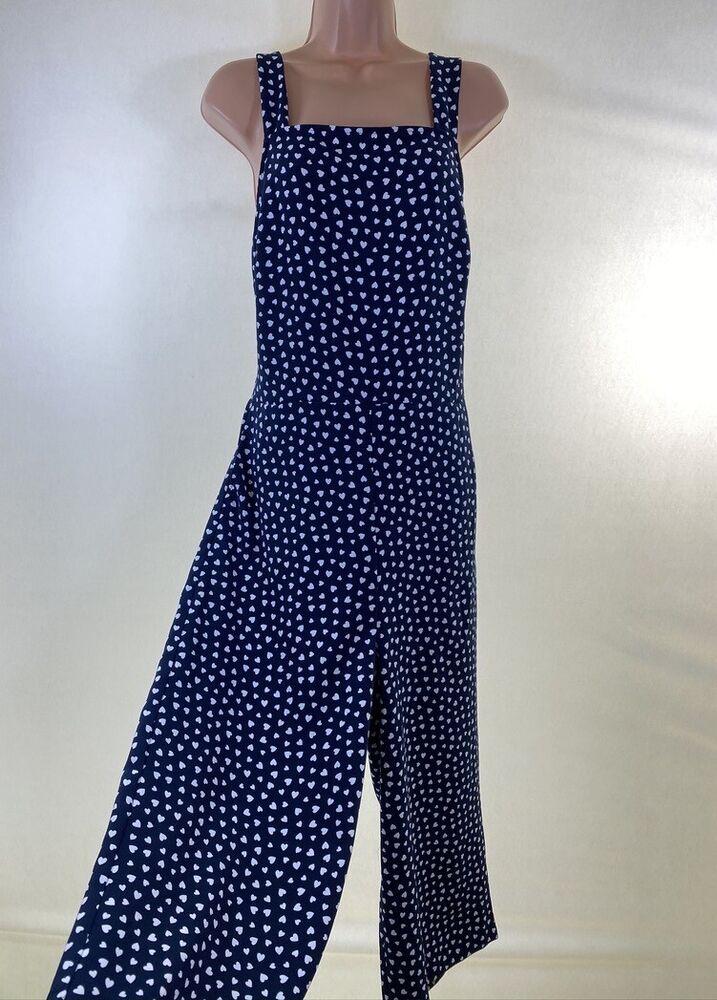 Bnwt Next Cœur Bleu Imprimé Découpé Dos Culotte Jambe Large Combinaison Taille 12 40 £ 46