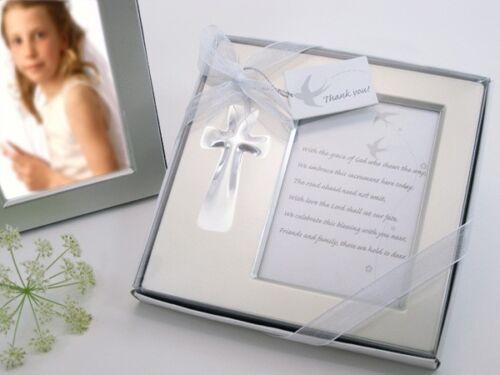 60 Silver Brushed Metal Cross Baptism Christening Wedding Photo Frame Favors