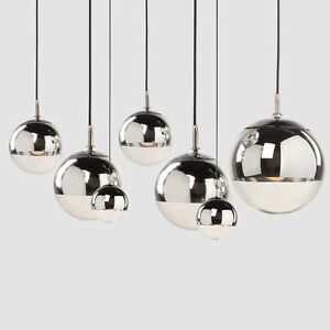 Details About Modern Gl Pendant Lighting Chromium Plating Ceiling Light Hanging Fixtures