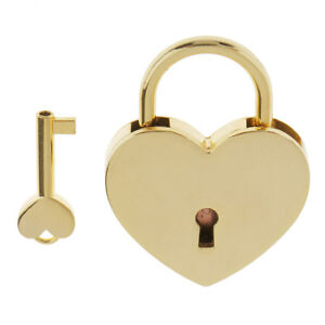 Alloy-Heart-Shaped-Padlock-Home-Gym-Lock-Set-Valentine-039-s-Day-Gifts-Golden-L