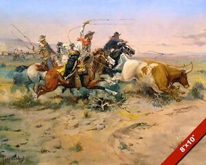 COWBOYS-WRANGLING-CATTLE-HERD-LASSO-OIL-PAINTING-ART-REAL-CANVAS-GICLEE-PRINT