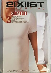 2XIST-Men-039-s-3-Pack-Essential-Slim-Fit-V-Neck-T-Shirts-White-Size-M