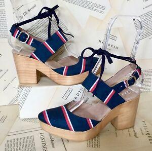 35a05adc165 NEW Free People blue Fabric Stripe Close Toe Platform Wood Clog Shoe ...
