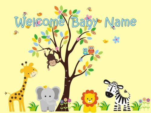 EDIBLE CAKE IMAGE JUNGLE SAFARI ANIMALS PARTY TOPPER BABY SHOWER BIRTHDAY ICING