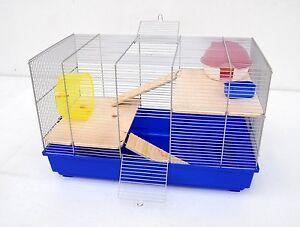 Cage à souris 58x32x38 cm, cage de rongeur pour hamster à souris, bleu avec accessoires