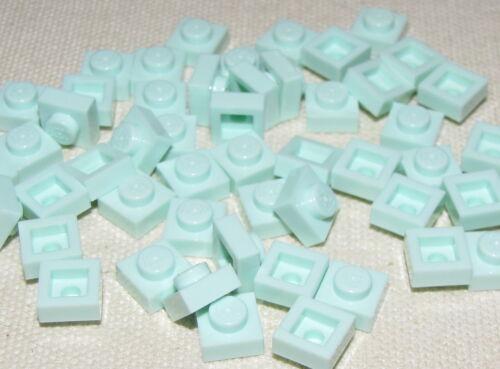 LEGO LOT OF 50 NEW LIGHT AQUA 1 X 1 PLATES BUILDING BLOCKS PARTS PIECES