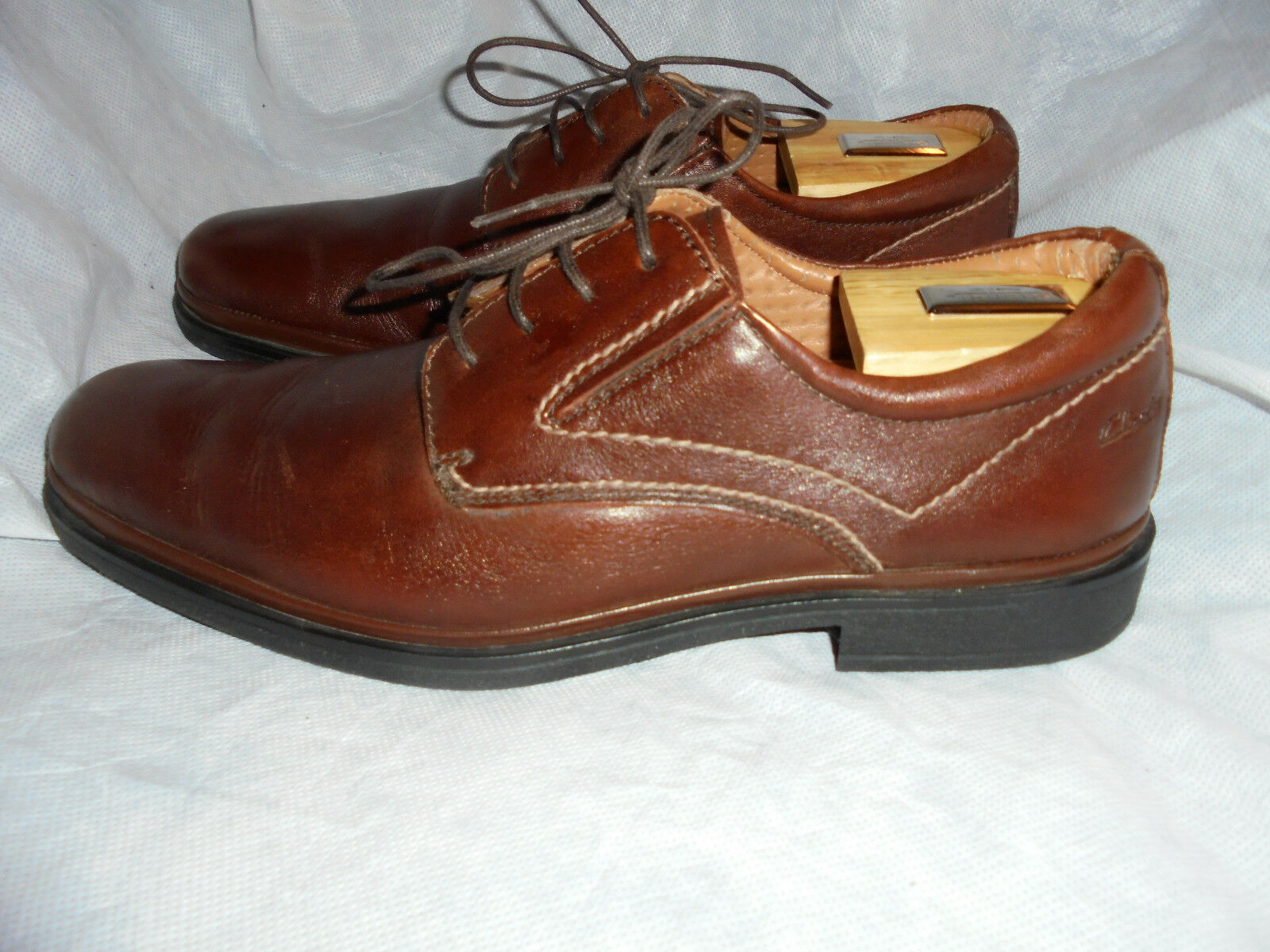 CLARKS FLEXI LIGHT MEN'S BROWN 43 LEATHER LACE UP Schuhe 43 BROWN SIZE UK 9 ... 5c3e30