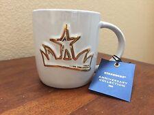 Starbucks 2016 Anniversary Siren Crown Ceramic Cup Mug, White & Gold, 14 oz, NWT