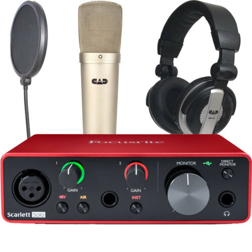 Focusrite Scarlett Solo Gen 3 with CAD GXL2200 mic MH110 Headphones