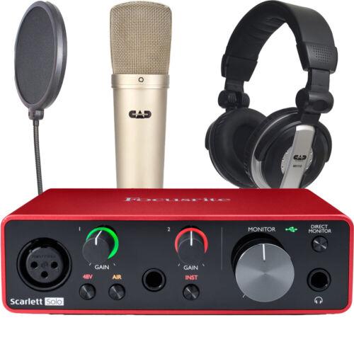 Focusrite Scarlett Solo Gen 3 with CAD GXL2200 mic MH110 Headphones