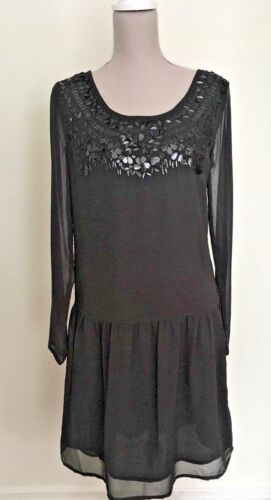 New Next Dark Grey Black Chiffon Drop Waist Tunic Sequin Party Dress RRP £44.99