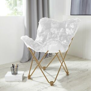 Details about Comfy White Faux Fur Butterfly Folding Chair Seat Teen Dorm  Bedroom Furniture