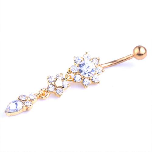 Vogue Crystal Flower Navel Belly Button Ring Bar Body Piercing Women Navel Decor