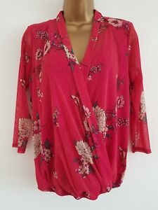 NEW-Ex-M-amp-Co-8-22-Bird-Print-Wrap-Front-Pink-Red-Floral-Sparkle-Tunic-Top-Blouse