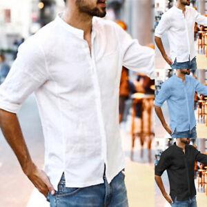 Men-039-s-Short-Sleeve-Linen-Shirt-Loose-Summer-Casual-V-Neck-Shirts-Tops-M-3XL-Tee