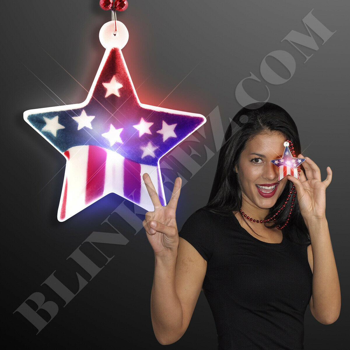12X Light Up Flag Star on Mardi Gras Beads 4TH OF JULY FUN