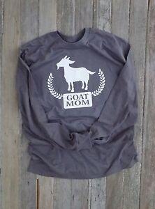 3beebe7478 Funny GOAT clothing LONG Sleeve TEE SHIRT T-SHIRT Goat MOM Charcoal ...