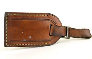 48be72bd132 100% Auth Louis Vuitton Brown   Tan leather luggage Small nametag ...