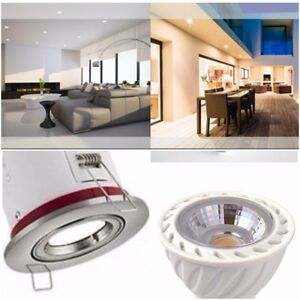 1-4-6-10-20-30x-Fire-Rated-Brushed-Chrome-ip20-Downlights-5-W-DEL-Bulb-chaud-White