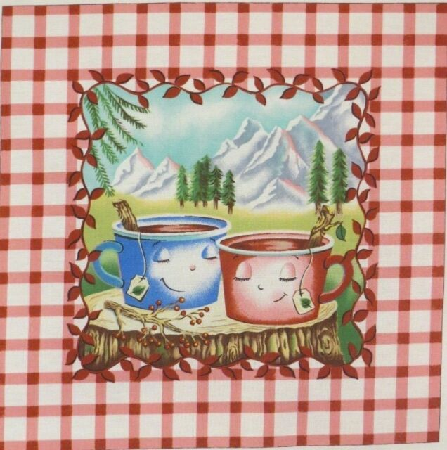 """Lovers Smile Coffee Tea Cup Fabric Large  9.75"""" x 10""""quilt pillow block quilting"""