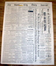 Rare original 1874 Sioux City Daily Journal newspaper IOWA -9 yr post CIVIL WAR