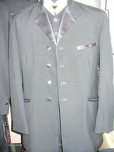 Black SIngle Breasted 4 Button 90098 Tropic Weight Worsted Wool