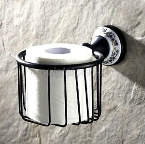 Black-Oil-Brass-Porcelain-Base-Toilet-Paper-Roll-Tissue-Basket-Wall-Mount-qba290