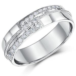 5670ca535753 Das Bild wird geladen oro-blanco-9-ct-Anillo-Con-Diamante-Alianza-