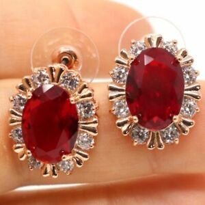 Sparkling-Oval-Red-Ruby-Earrings-Women-Wedding-Jewelry-14K-Rose-Gold-Plated