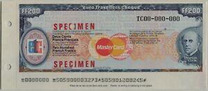 Euro FF200 Travelers Cheque Specimen UNC