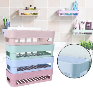 Details About Kitchen Bathroom Wall Storage Shelf Hanging Rack Corner Basket Holder Organizer