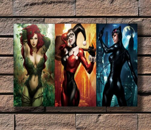 ZA216 Harley Quinn Catwoman Poison Ivy Comics Hot Girl Poster Hot 40x27 36x24 in