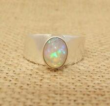 Ethiopian Welo Opal 925 Sterling Silver Wide Band Ring UK Size O-US 7 1/4
