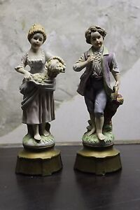 Lovely Vintage couple Figurine Porcelain Girl and Boy Picking Flowers
