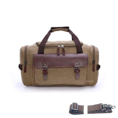 Retro Vintage Mens Genuine Leather Canvas Travel Weekend Bag Lightweight Luggage