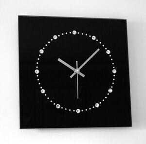 Swarovski Elements Glas Design Funk Wanduhr schwarz silber ...