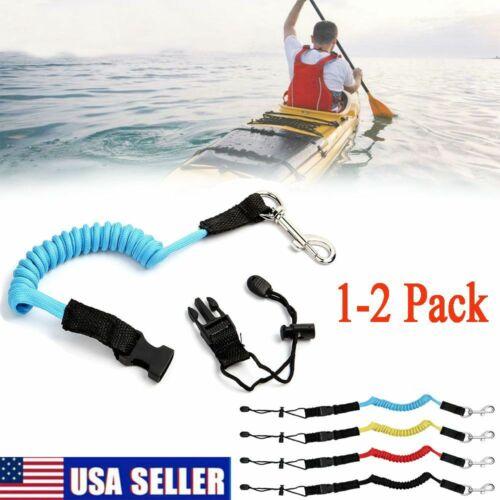 1-2 Folding Coiled Paddle Leash Kayak Canoe Lanyard Safety Fishing Rod Cord Rope