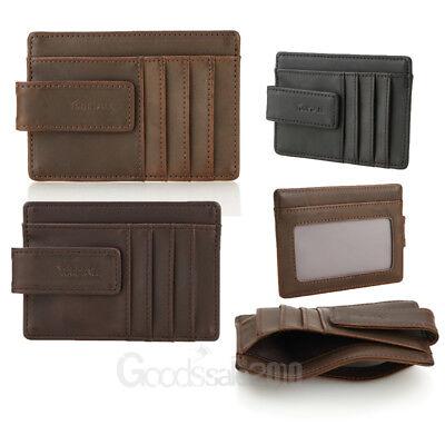 Men's Genuine Leather Wallet Credit Card ID Holder Magnetic Money Clip Black