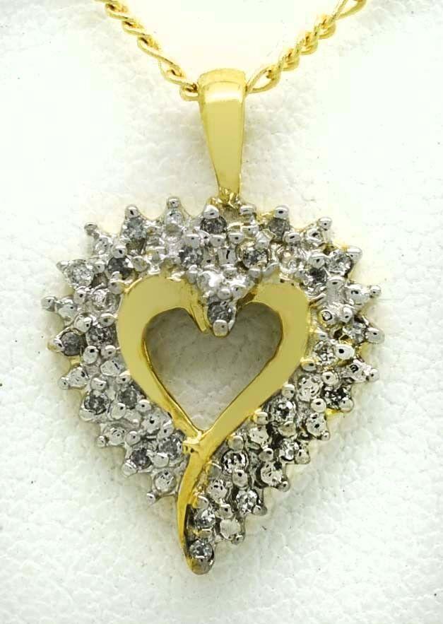 GENUINE 0.37 Cts DIAMONDS HEART PENDANT 10k Yellow gold  NWT  FREE CHAIN