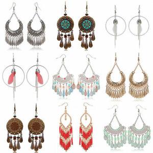 Fashion-Bohemian-Jewelry-Elegant-Tassels-Earrings-Long-Hook-Drop-Dangle-Women